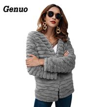 Genuo Faux Fur Coat Women 2018 Fashion Ladies Jacket Winter Outwear Casual Cardigan Feminino Overcoat
