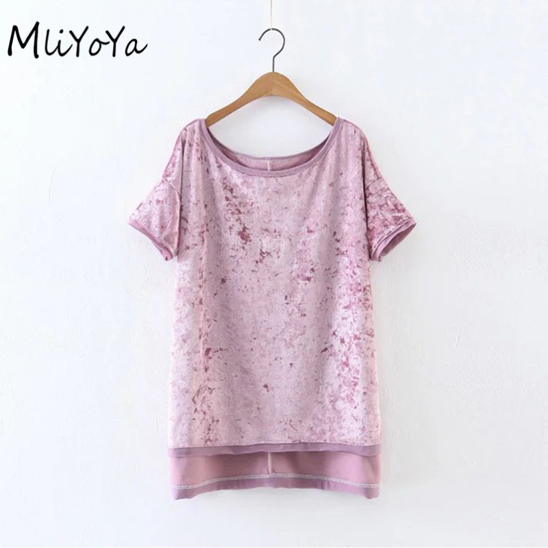 Mliyoya Store MLIYOYA Fashion Cashmere Women T Shirts Short Sleeve Patchwork O Neck Female Tshirts Tops 2017 Summer New