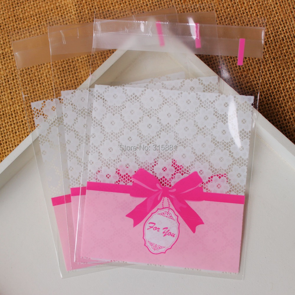 Pink bowknot Self Sealing Wrapping Bags,Cookies,Snacks,Party ...