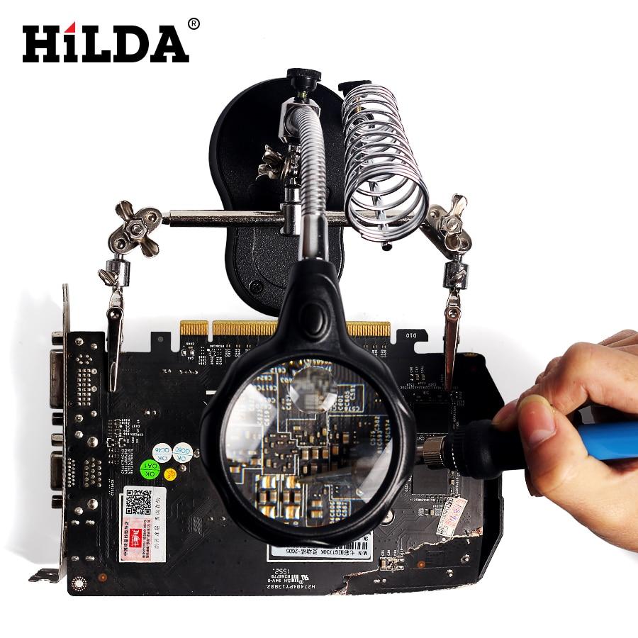 HILDA 220V 60W Adjustable Temperature EU Plug Electrical Soldering Iron Hand Welding Tool Gun Combination Magnifying Glass цена
