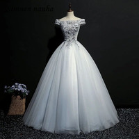 Серебряные пышное платье выпускного вечера вечерние платье с открытыми плечами 3D Вышивка бальное платье, vestidos De 15 Anos Сладкий 16 платья 249