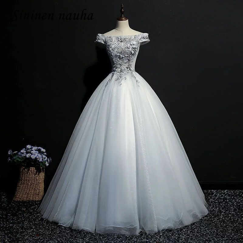 373065ab77a9 Silver Quinceanera Dresses Prom Party Dress Off The Shoulder 3D Embroidery Ball  Gown Vestidos De 15