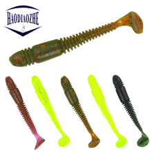 Купить с кэшбэком 5Pcs Worm Soft Baits 7.5cm 3g Lifelike Swimbaits Smell Salt Silicone Tail Sea Wobblers Isca Artificial Earthworm Fishing Lures
