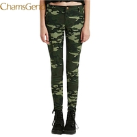 da579af38a ... Calças De Cintura Alta. 2018 New Slim Pencil Pants Army Green Military  Jeans For Women Elastic Jeans Pencil Female Denim