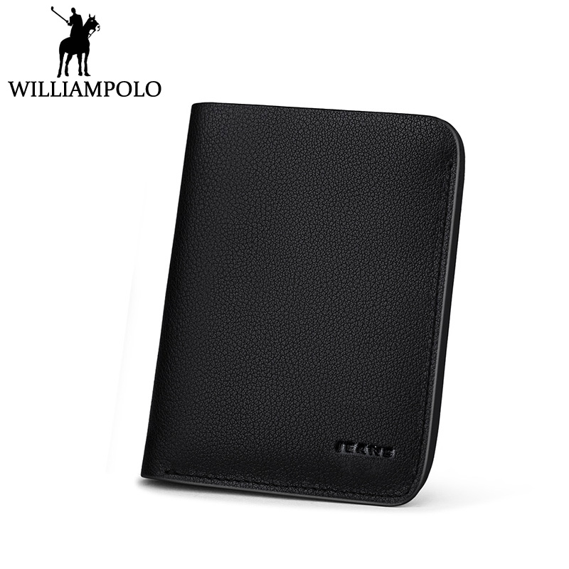 Williampolo 100% Genuine Leather Mini Wallets Men Fashion Brand Short Cowhide Cute slg purse Male Slim Pouch with card holder