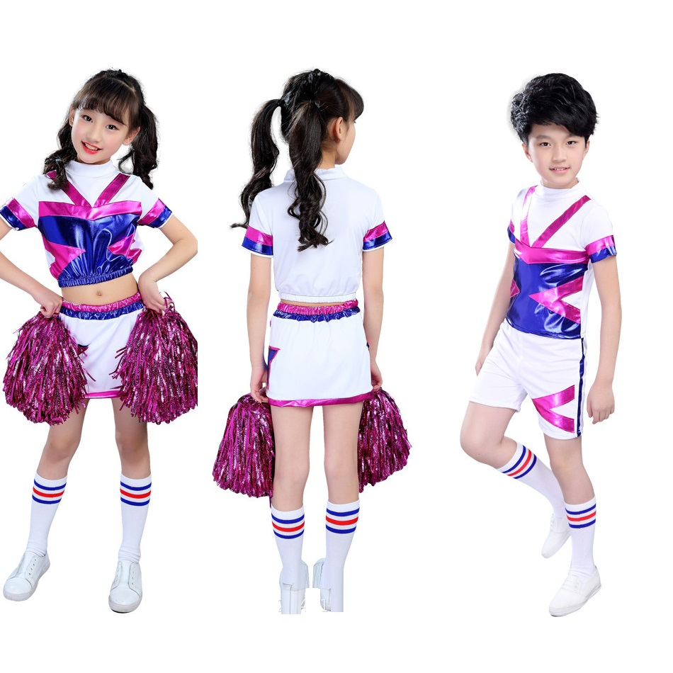 High School Cheerleading Costume Cheer Girls Cheerleader Uniform Party Outfit Tops With Skirt Children Cheerleading Jazz Dance