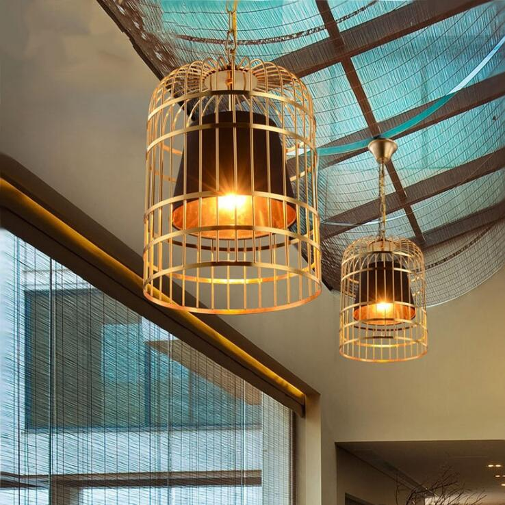 Gold bird cage restaurant chandelier personality bar cafe wrought iron art lantern chandelier creative LED lighting indoor lighting bird cage restaurant cafe bar desk study chandelier retro bird balcony chandelier