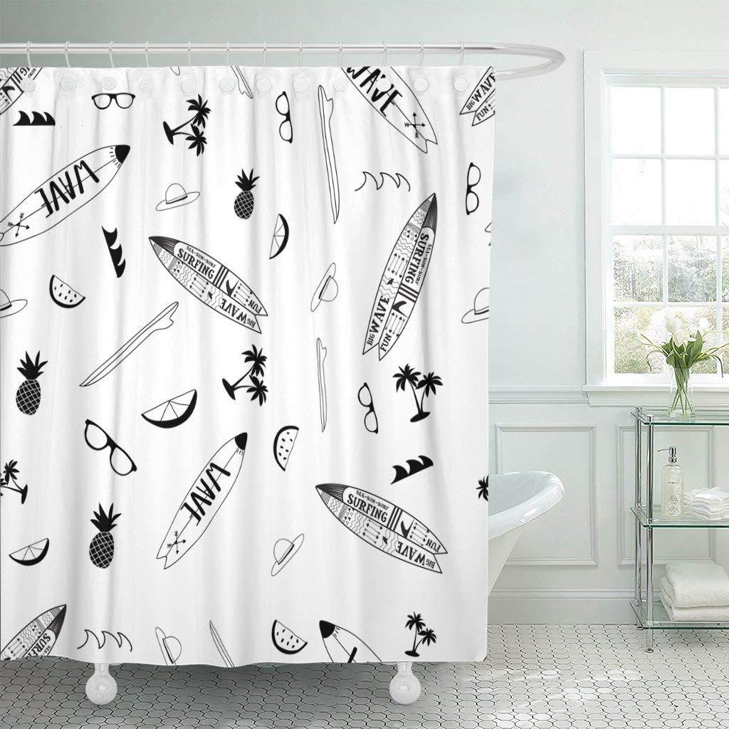 shower curtain hooks blue beach surf pattern black white colorful boy summer palm board surfboard decorative bathroom
