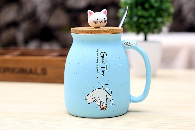 HTB15gsBGNSYBuNjSsphq6zGvVXaX 450ml Cartoon Ceramics Cat Mug With Lid and Spoon Coffee Milk Tea Mugs Breakfast Cup Drinkware Novelty Gifts
