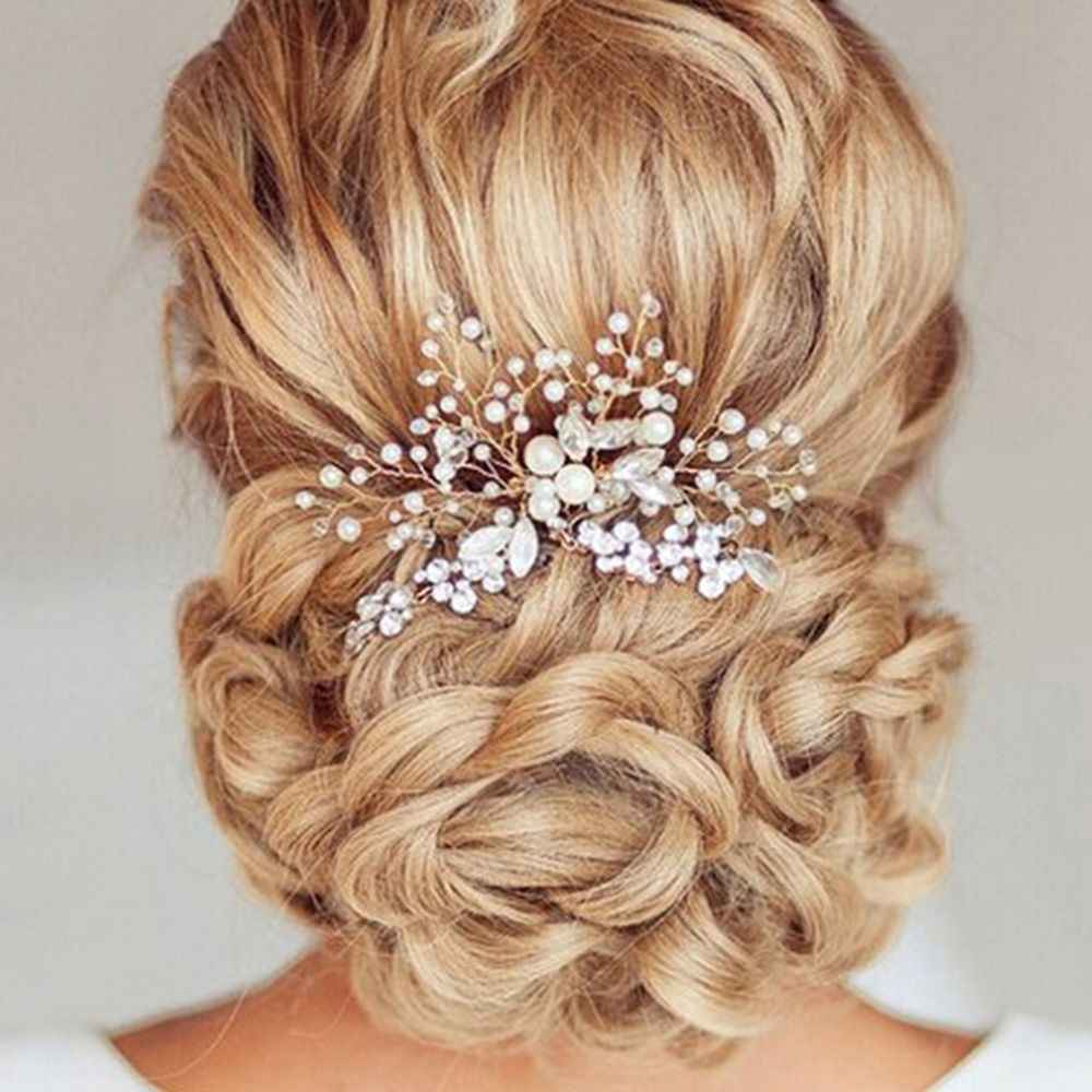 כסף שיער קליפ בציר חתונה כלה פנינת פרח קריסטל שיער פין שושבינה קליפ מסרק הכלה שיער תכשיטי אבזרים