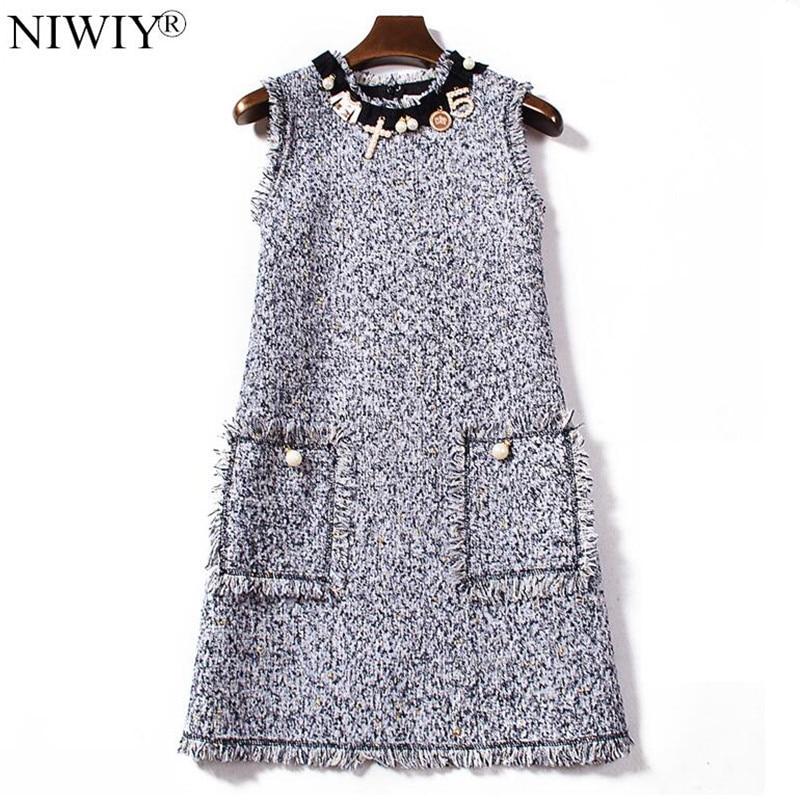 High end NIWIY Brand Dress Women Loose Diamonds Dress 2019 Vestidos De Festa Tweed Vest Pink