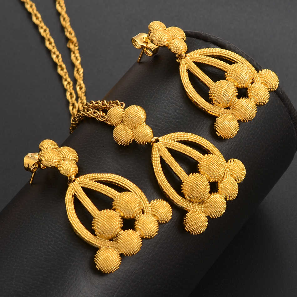 Dubai Jewelry Sets for Women Gold Color Ethiopian Pendant Necklaces Earrings Middle Eastern Arab African Wedding Jewellery