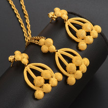 Dubai Jewelry Sets for Women Gold Color Ethiopian Pendant Necklaces Earrings Middle Eastern Arab African Wedding Jewellery(China)