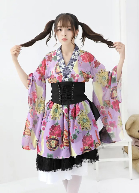 Women And Teen Girls Anime Cosplay Miumelochin Japan Wrap Dress Kimono  Bathrobe Waist Band Floral Asymmetric Clothing For Girls