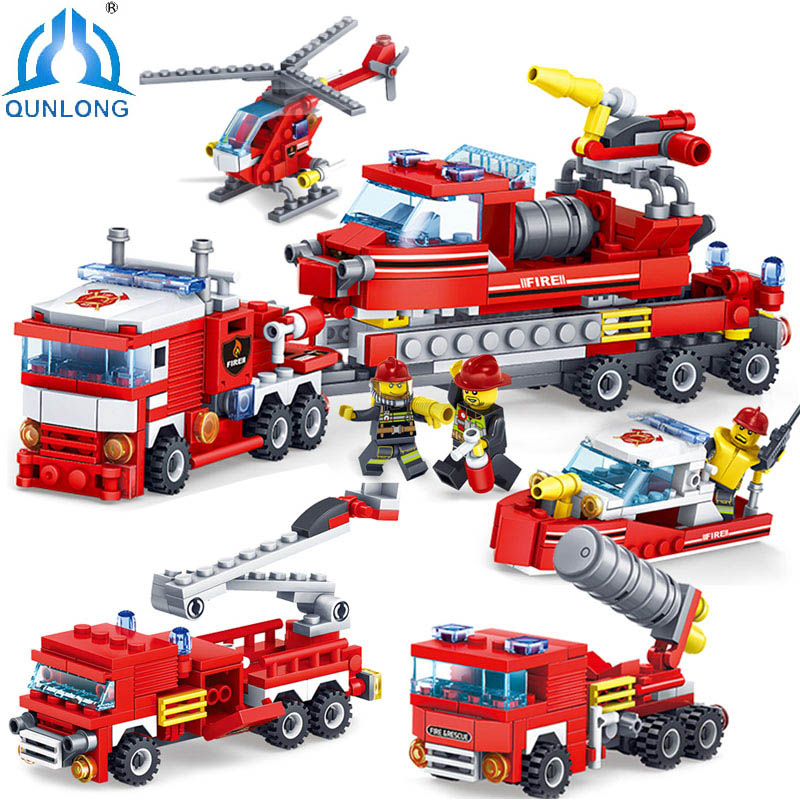 Qunlong Toys City Fire Station 4 in 1 Heavy Truck Helicopter Boat Building Blocks Compatible Legoe City Technic Fire Figures Toy полка дл обуви мастер лана 3п пол 3п орех итальнский мст пол 3п ои 16