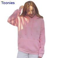 Hoodies Pink Harajuku Style Pullovers Tops Sweatshirt Long Sleeve Fashion Letter Embroidery Casual Female Hoody Women
