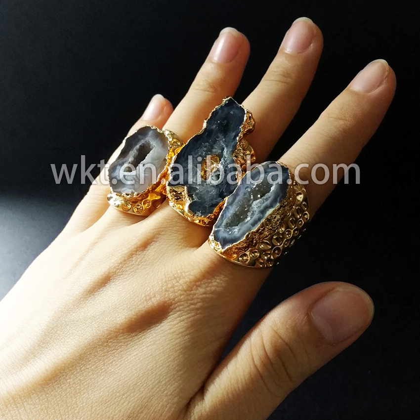Exclusive Women Fashion slice geode a gate rings Amazing design druzy stone ring drusy stone gold strim ring WT-R112
