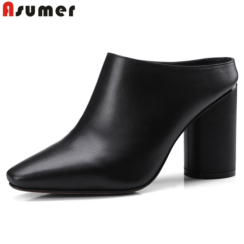 ASUMER 2018 New arrive high quality genuine leather women pumps square toe high heels summer women mules ladies dress shoes asumer large size 32 43 women pumps peep toe comfortable new arrive high quality rhinestone round toe thick heels summer shoes