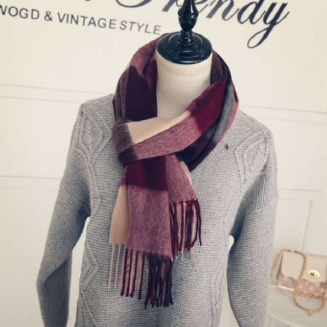 New Wool plush plaid scarf women Thicken Soft Winter scarf Fashion Shawls and Scarves Women's Scarves Christmas gift