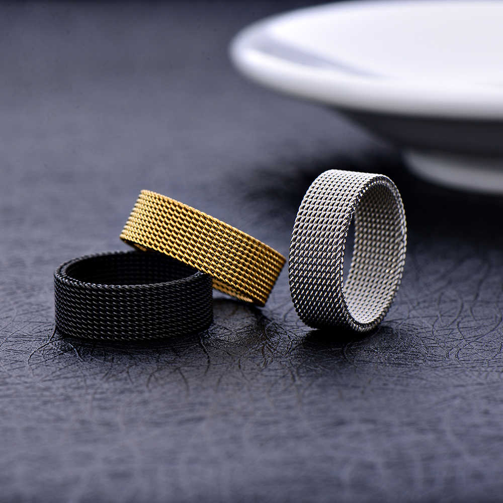 Wholesale low price stainless steel silver gold black color 8MM mesh finger ring fashion unisex jewelry 7-10# anel bague