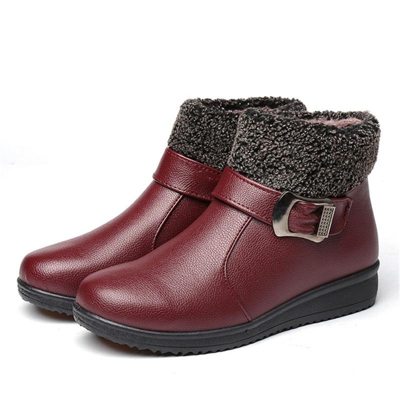 Las mujeres de invierno cremallera botas tobillo botas de nieve de cuero de las señoras zapatos de mujer zapatos de piel de bottes femme