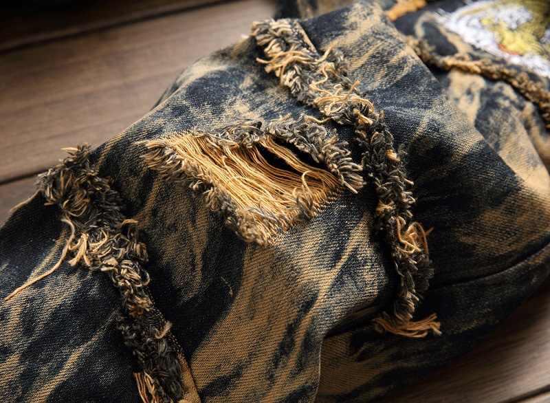Jeans Mannen Mannelijke Jean Casual Ripped Hiphop Broek Vintage Geel Tijger Borduurwerk Rechte Jeans Voor Mens Verontruste Denim Broek