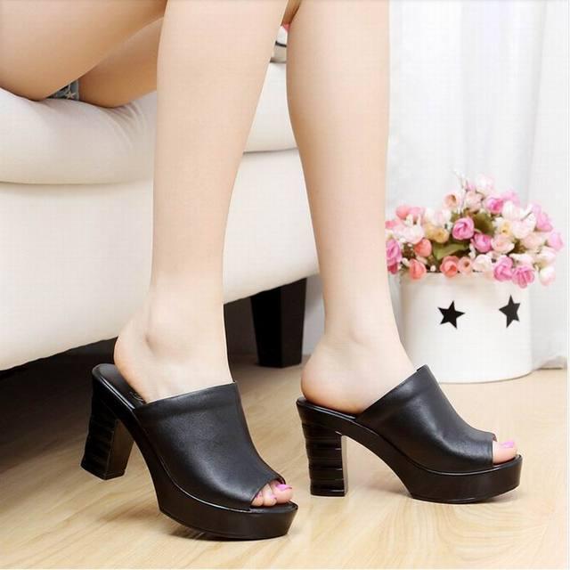 7a61b4f09b8 Kulit sapi Sandal Wanita Platform Kulit Asli Sepatu Wanita Sandal High Heels  Sandal Jepit Wanita Sepatu