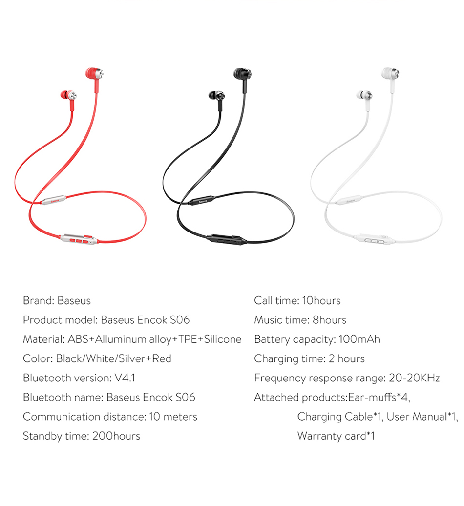 Baseus S06 Neckband Bluetooth Earphone Wireless headphone Baseus S06 Neckband Bluetooth Earphone Wireless headphone HTB15gt3dBfM8KJjSZFrq6xSdXXaM