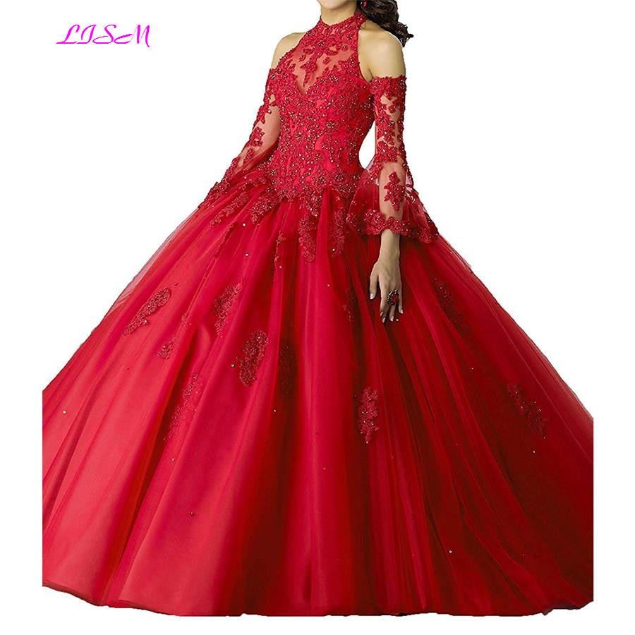 Vintage Ball Gown Tulle Quinceanera Dress High Neck Long Sleeves Prom Dress Lace Appliques Bead Sweep