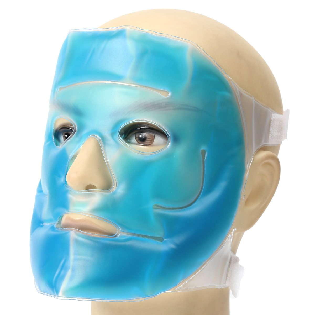 1 Pcs Cold Gel Face Mask Ice Compress Blue Full Face Cooling Mask Fatigue Relief Relaxation Pad With Cold Pack Faical Care Tool ice mask for face