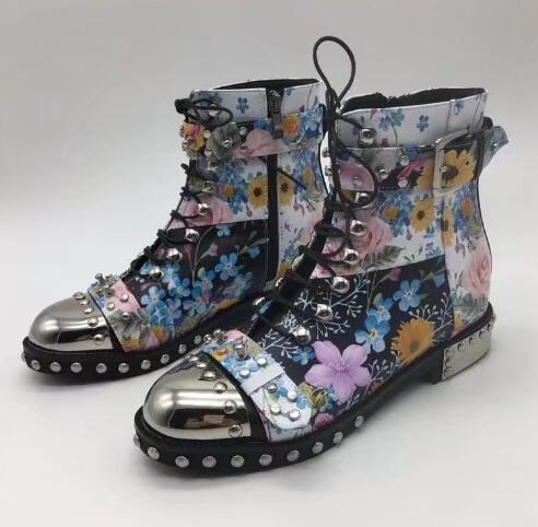 2017 encaje de tobillo damas montar mujeres botas botas mujeres de cuero de la PU 3502e1