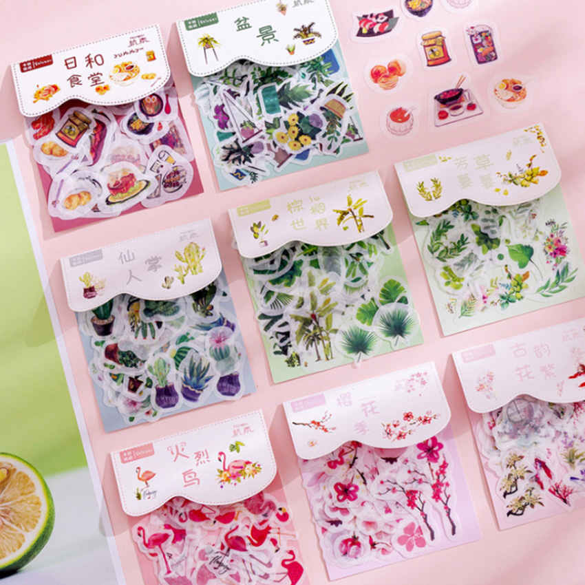 40pcs/lot Creative Aesthetic Plant Series Sticker Pack Paper Sticker Decoration Diy Ablum Diary Scrapbooking Label Stickers