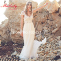 Sexy Backless Long Chiffon Crystal Wedding Dress Short Sleeves Beach Wedding Dress Lace Boho wedding Dress A367