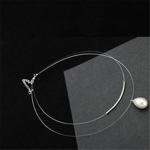 Simulated Pearl Necklace with Double Layer Transparent Line 6