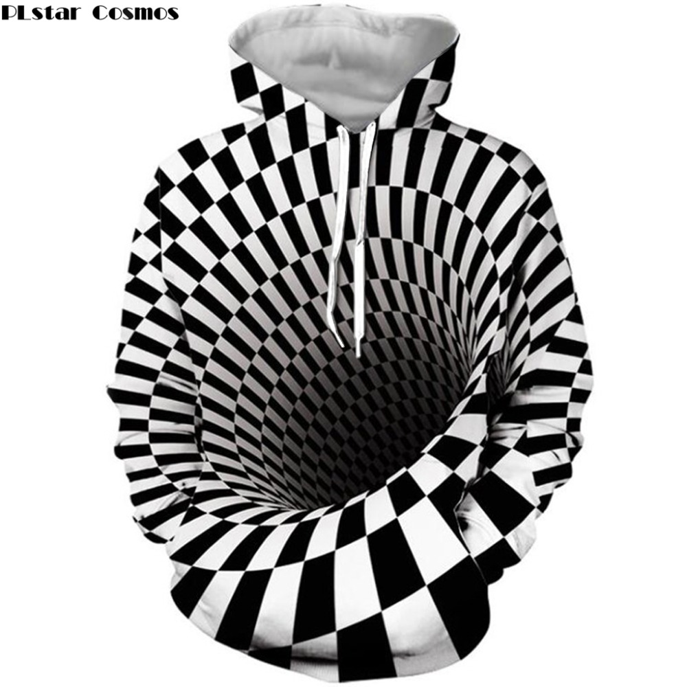 Pullover Hoodie Unisex New-Fashion Plstar Cosmos Outerwear-Kj Checked-Print Casual Swirl