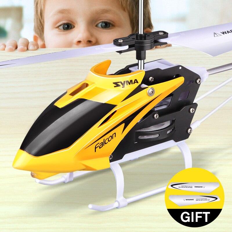 SYMA Helicóptero DO RC Mini Indoor oficial de Alumínio com Luz Construído em Giroscópio Zangão Controle Remoto Brinquedos Cor Vermelho Amarelo