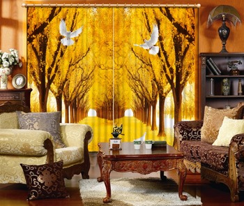 3D Classic Home Decor Fashion Curtain Custom Golden woods pigeons Curtain Living Room Blackout Shade Window Curtains