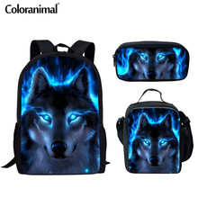 Coloranimal Backpack for Teenager Girl Boy 3D Wolf Mens Set Rucksack Cool Animal Printing Bookbag Kids Children Schoolbag