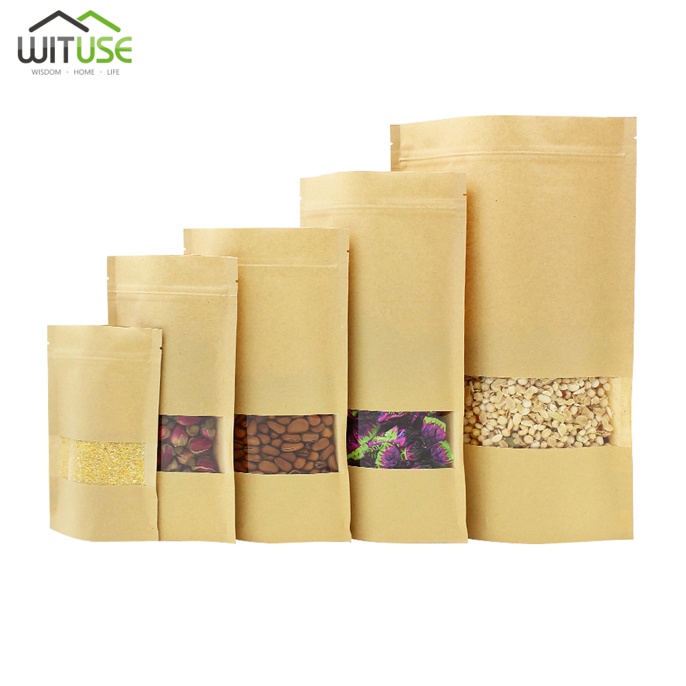 10pcs Brown Kraft Paper Gift Candy Bags Wedding Packaging Bag Recyclable Food Bread Party Shopping Bags For Boutique Zip Lock