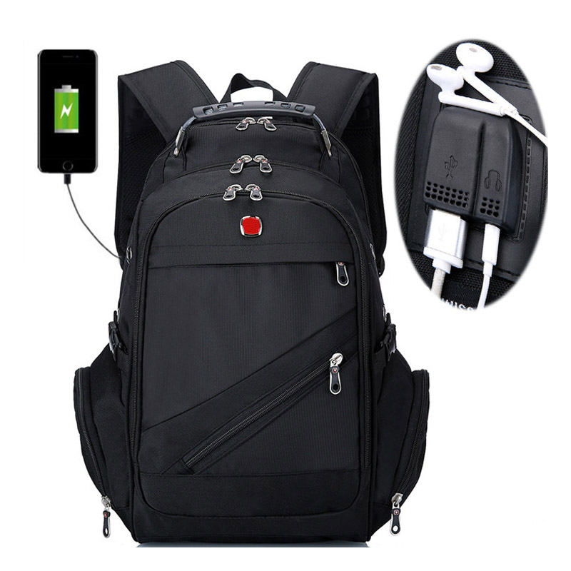 Brand Swiss Laptop 15Backpack External USB Charge Swiss Computer Backpacks Anti-theft Backpack Waterproof Bags for Men Women