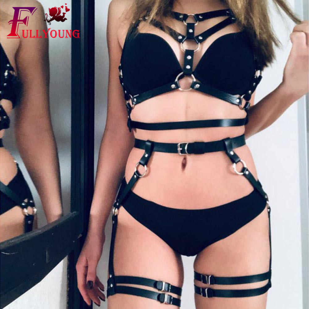 Fullyoung Sexy 2 PCS Leather Harness Set Garters Belts Women Bra Suspenders Garter Straps Body Belts Waist To Leg Bondage Cage