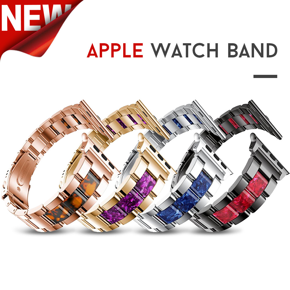 Stainless Steel Strap for Apple Watch Band with Cellulose Acetate 38mm Series 3 2 1 Metal Bracelet for Apple Watch 40mm Series 4 цена