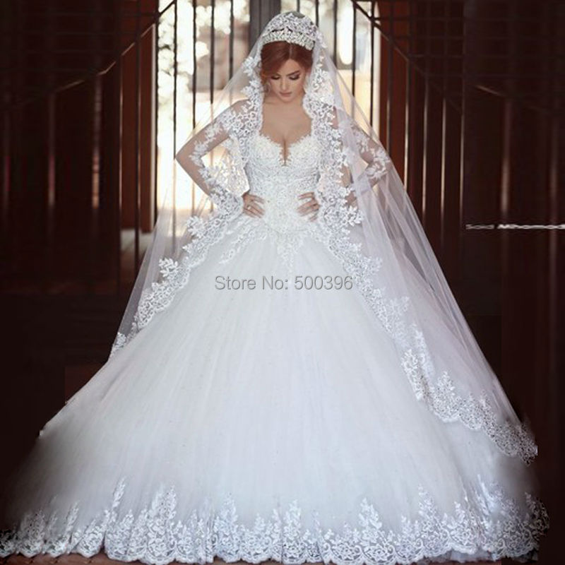 b1cc75730 Hot Sale Sheer Long Sleeves Wedding Dress 2016 casamento romantico Ball Gown  Lace Appliques Bridal Wedding Dress Gowns