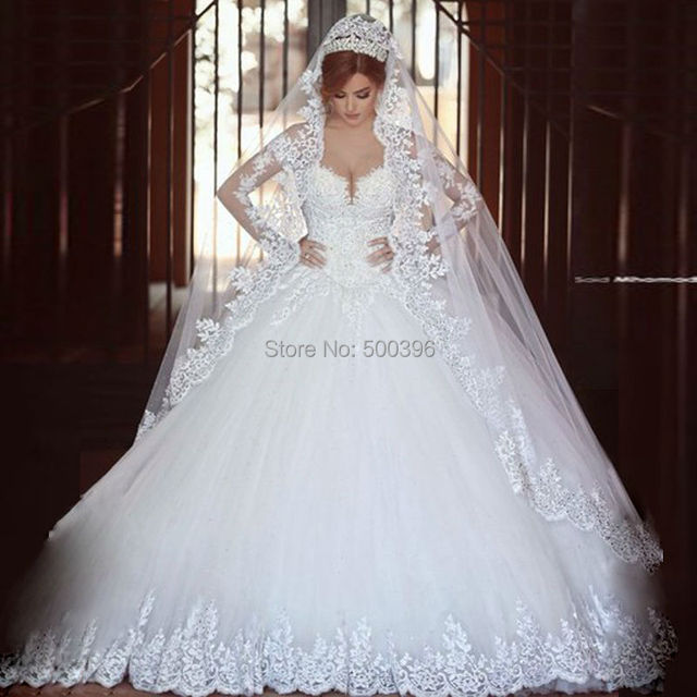Hot Sale Sheer Long Sleeves Wedding Dress 2016 casamento romantico ...