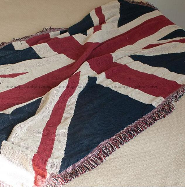 Cotton retro British flag sofa blanket word flow Sumi decorative blanket on  bed pad variety function knitting sofa throw home -in Blankets from Home ...