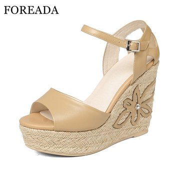 FOREADA Genuine Leather Shoes Women Sandals Platform Sandals Platform Wedge Heels Flower Party Shoes Real Leather High Heels