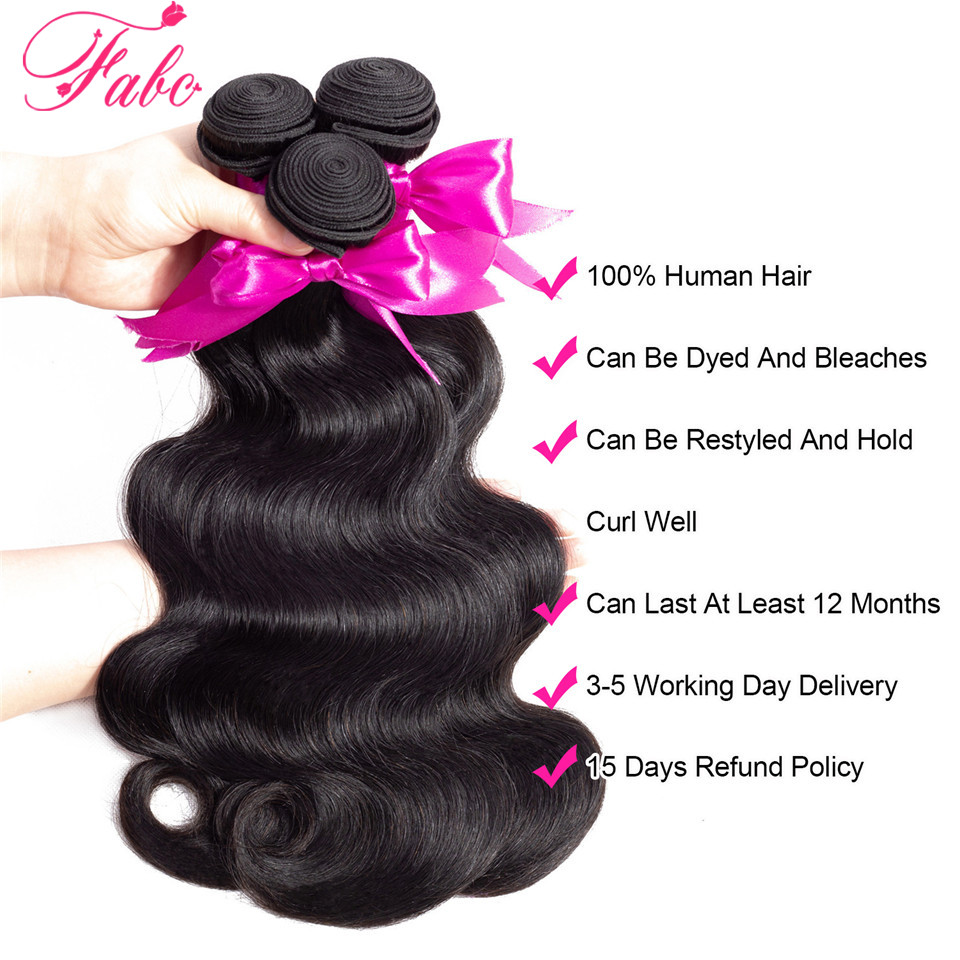 FABC Hair Brazilian Hair Weave Bundles With Closure Pre Plucked Body Wave Human Hair Middle Ratio FABC Hair Brazilian Hair Weave Bundles With Closure Pre Plucked Body Wave Human Hair Middle Ratio Non Remy Hair Natural Black