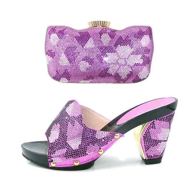 Purple Bridal Wedding Shoes With Clutch Bag Peep Toe Crystal Party Pumps Graduation Heels Matching Free Shipping