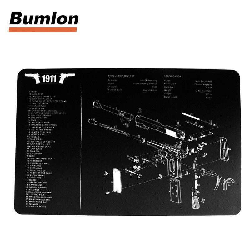 17x11 Waterproof Tactical Gun Cleaning Bench Rubber Mat with 1911 Handgun All Part List Printing HT37-0068