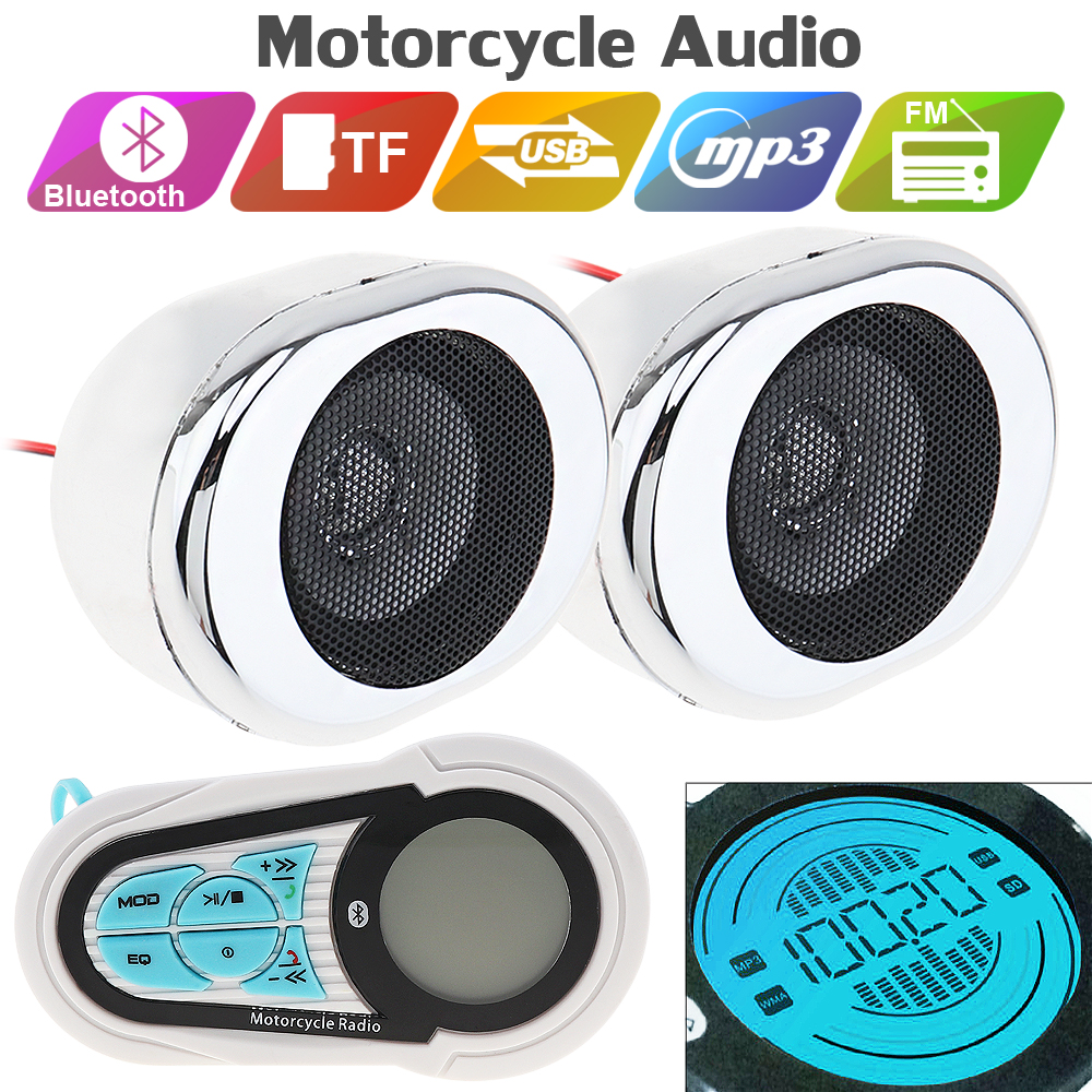 30W Motorcycle Audio Waterproof Anti-theft Bluetooth MP3 Player Speaker Support FM Radio and USB / TF
